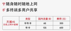 电信天翼4G无线上网卡套餐:半年6g,300元;年卡12个月12G,600元